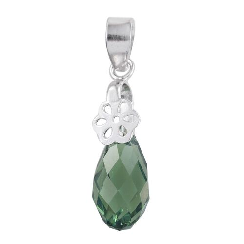 J Francis Crystal from Swarovski - Erinite Crystal Drop Pendant in Platinum Overlay Sterling Silver