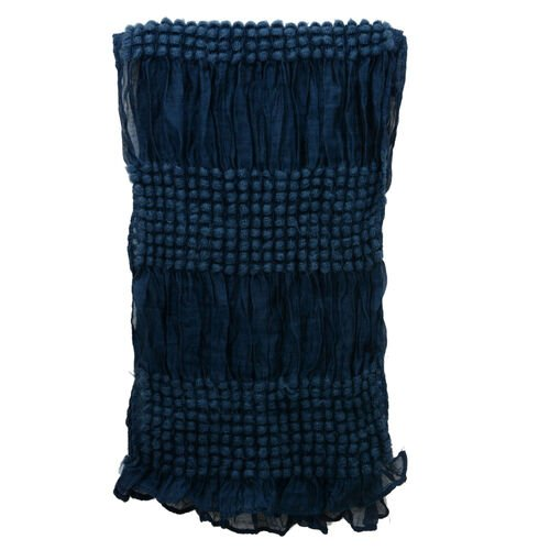 Navy Blue Colour Bubble Pattern Scarf (Size 180x30 Cm)