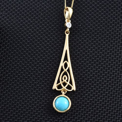 Arizona Sleeping Beauty Turquoise (Rnd 1.13 Ct), Natural Cambodian Zircon Pendant with Chain in 14K Gold Overlay Sterling Silver 1.150 Ct.