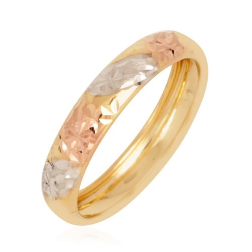 Royal Bali Collection 9K Yellow, White and Rose Gold Band Ring