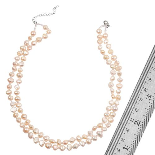 Fresh Water White Pearl and Simulated White Diamond Double Strand Necklace (Size 18) in Silver Tone