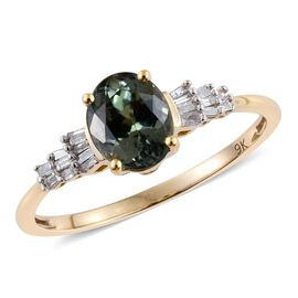 9K Y Gold AA Natural Green Tanzanite (Ovl 1.80), Diamond Ring 1.900 Ct.