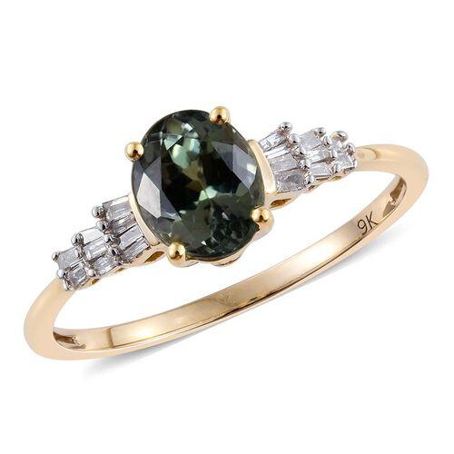 9K Y Gold AA Green Tanzanite (Ovl 1.80), Diamond Ring 1.900 Ct.