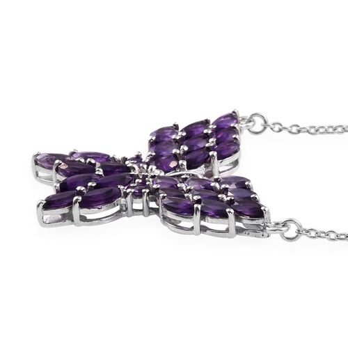 Natural Uruguay Amethyst (Mrq) Butterfly Pendant With Chain (Size 18) in Platinum Overlay Sterling Silver 6.000 Ct.