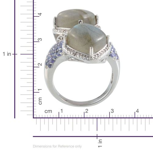 Labradorite (Cush), Tanzanite and Diamond Crossover Ring in Platinum Overlay Sterling Silver 13.770 Ct.