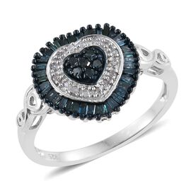 Blue Diamond (Rnd), White Diamond Ring in Platinum Overlay Sterling Silver 0.515 Ct.