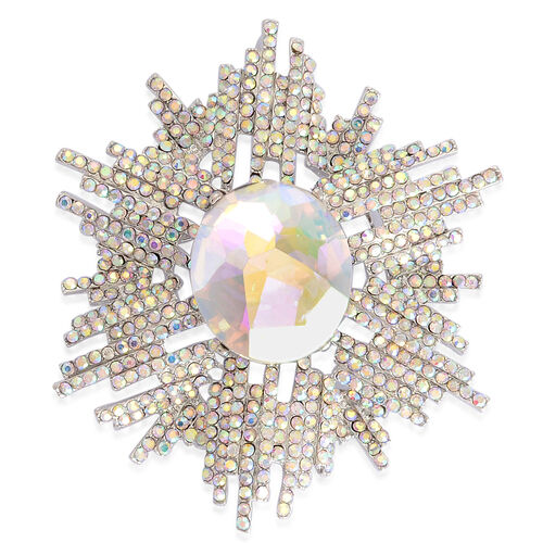 Mystic Glass and Austrian Crystal Starburst Brooch Or Pendant in Silver Tone