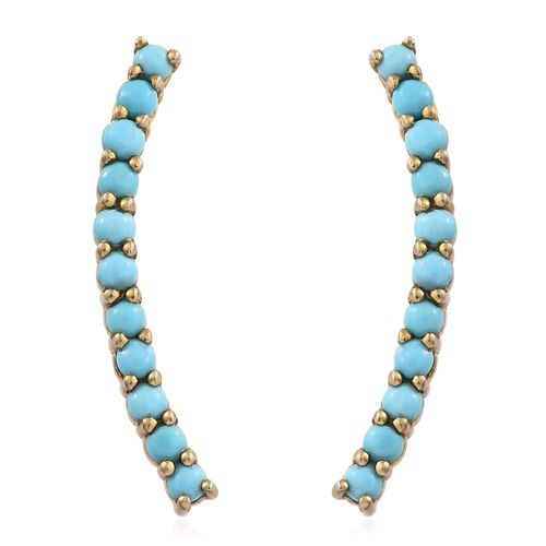 Arizona Sleeping Beauty Turquoise 1 Carat Climber Earrings (with Push Back) in Gold Overlay Silver