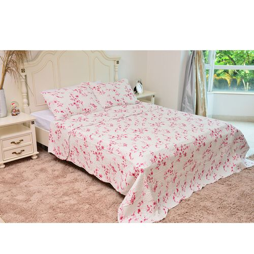 100% Cotton Pink and White Colour Floral and Leaves Printed Quilt (Size 250X220 Cm) with 2 Pillow Shams (Size 70X50 Cm)