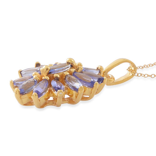 Tanzanite (Mrq) Floral Pendant With Chain in 14K Gold Overlay Sterling Silver 1.750 Ct.