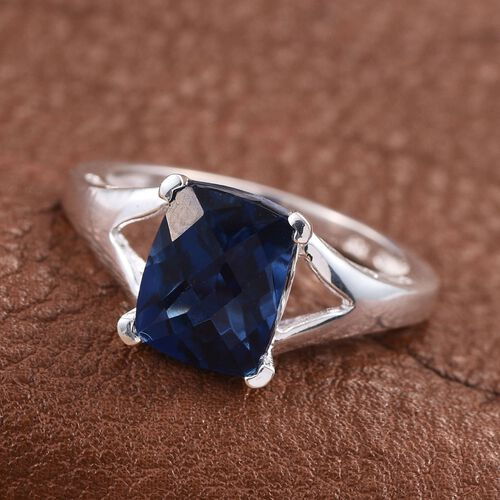 Checkerboard Cut Ceylon Colour Quartz (Cush) Solitaire Ring in Sterling Silver 3.750 Ct.