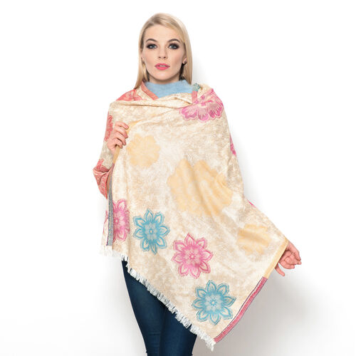 Golden, Pink, Blue and Red Colour Flowers Embroidered Beige Colour Scarf (Size 185x70 Cm)