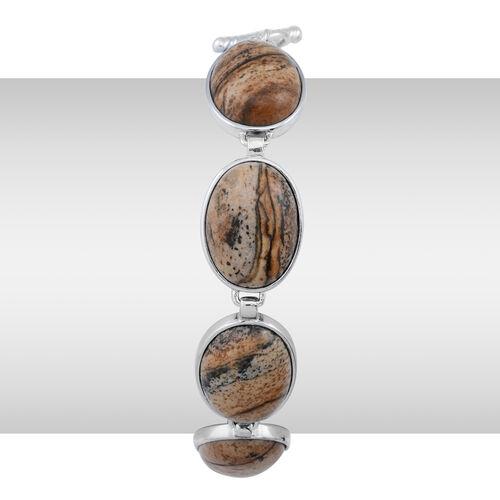 Picture Jasper (Ovl) Bracelet in Silver Tone (Size 7.5) 12.500 Ct.