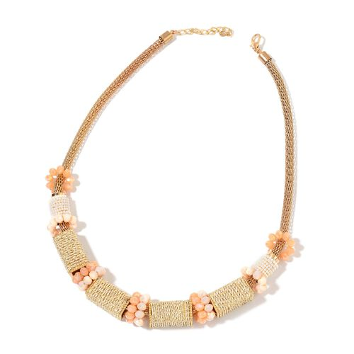 Handcrafted Peach and Multi Colour Beads Necklace (Size 22 with 2 inch Extender) in Yellow Gold Tone