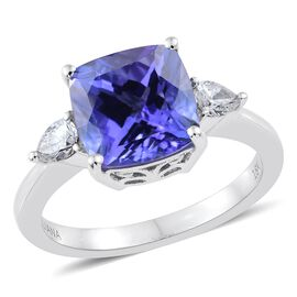 ILIANA 18K White Gold 4 Carat AAA Tanzanite Ring with Diamond IGI Certified (SI/G-H)