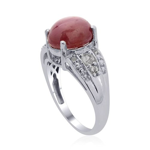 Star Ruby (Ovl 5.00 Ct), White Topaz Ring in Platinum Overlay Sterling Silver 5.250 Ct.