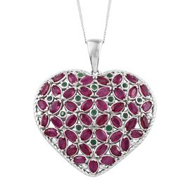 AAA African Ruby (Mrq), Kagem Zambian Emerald Heart Pendant with Chain in Platinum Overlay Sterling Silver 10.000 Ct. Silver wt 10.87 Gms.