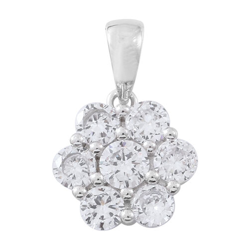ELANZA AAA Simulated White Diamond (Rnd) 7 Stone Floral Pendant in Rhodium Plated Sterling Silver