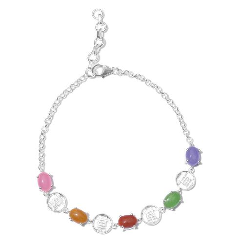 Designer Inspired- Green Jade (Ovl), Yellow Jade, Pink Jade, Purple Jade and Red Jade Bracelet (Size 7.5 with Half inch Extender) in Sterling Silver 5.000 Ct.