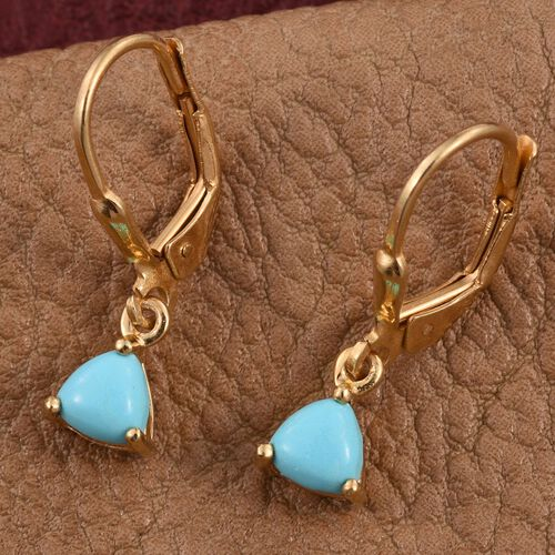 Arizona Sleeping Beauty Turquoise (Trl) Lever Back Earrings in 14K Gold Overlay Sterling Silver 0.750 Ct.