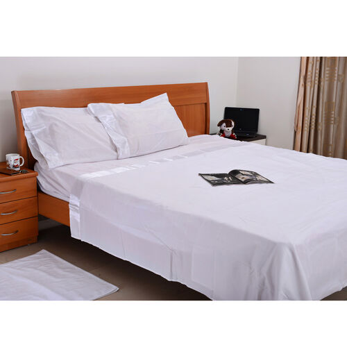 White Colour One Fitted Single Bed Sheet (Size 75x36 Inch), One Flat Sheet (Size 102x70 Inch) and Two Pillow Cases (Size 30x20 Inch) with Satin Hem (4 inch)