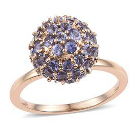 9K Yellow Gold 2.50 Carat AA Tanzanite Ball Ring