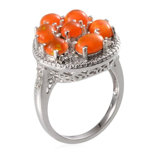 Orange Ethiopian Opal (Rnd 0.50 Ct), White Topaz Ring in Platinum Overlay Sterling Silver 3.750 Ct.