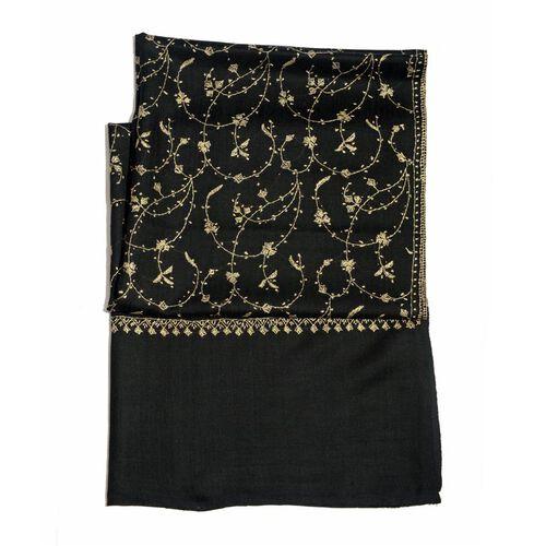 Hand Embroidered Floral Pattern Kashmiri Black Woollen Shawl (Size 200x70 Cm) - 100% Merino Wool