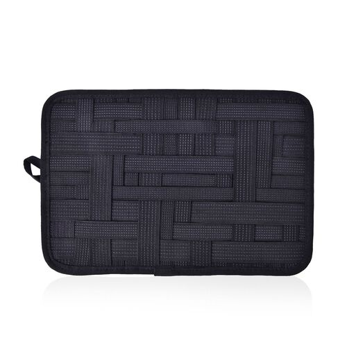 Black Colour Grid Pattern iPod, iPhone, Blackberry and Other Digital Devices Organizers (Size 31x21 Cm)