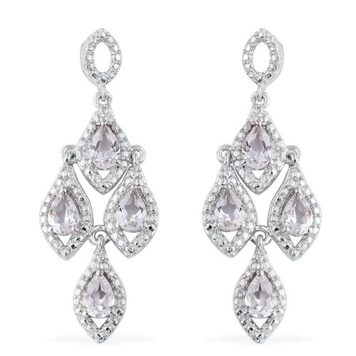 White Topaz (Pear) Earrings (with Push Back) in ION Plated Platinum Bond 3.750 Ct.