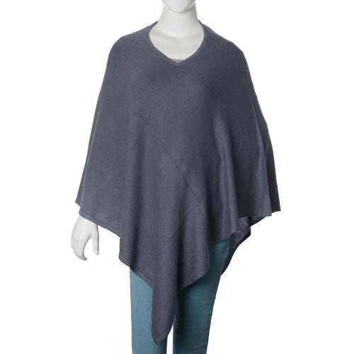 100% Pashmina Wool Dark Grey Colour Poncho (Free Size)
