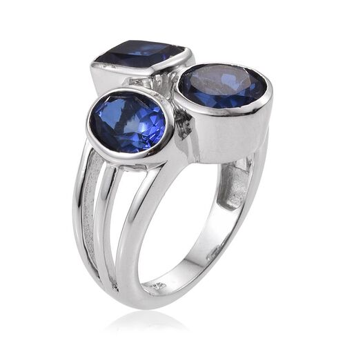 Ceylon Colour Quartz (Rnd 2.10 Ct) Ring in Platinum Overlay Sterling Silver 5.250 Ct.