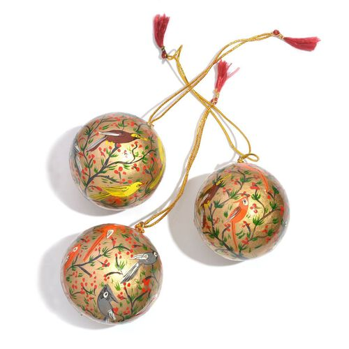 (Option 3) Christmas Decorations - Set of 3 - Golden Colour Wall Hanging Christmas Balls