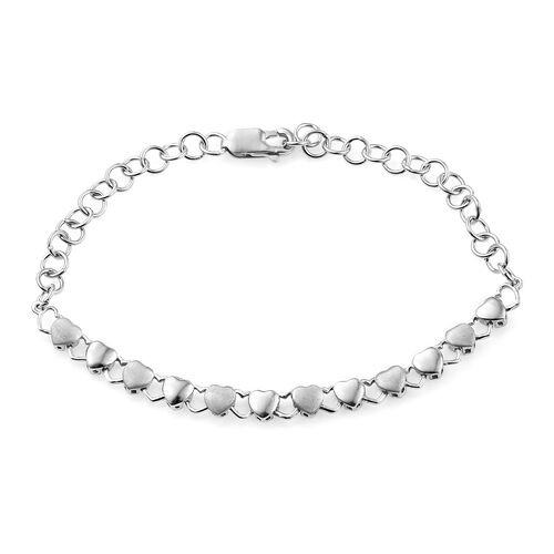 Vicenza Collection - Rhodium Plated Sandblasting texture Sterling Silver Heart Bracelet (Size 7.5), Silver wt. 5.36 Gms.