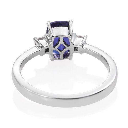 RHAPSODY 950 Platinum 2 Carat AAAA Tanzanite Cushion Ring, Diamond VS E-F.