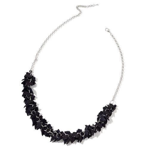 Simulated Black Spinel and Black Colour Leaves Necklace (Size 25 with Extender) in Silver Tone
