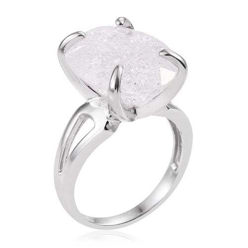 Diamond Crackled Quartz (Ovl) Ring in Platinum Overlay Sterling Silver 16.500 Ct.
