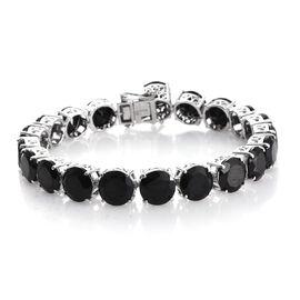 Boi Ploi Black Spinel (Rnd) Bracelet (Size 7.5) in Platinum Overlay Sterling Silver 71.250 Ct. Silver wt. 15.61 Gms.