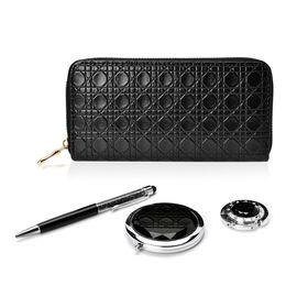 Set of 4 - Black Colour Ladies Clutch, Simulated Diamond Filled Ball Pen (Black ink), Crystal Studded Bag Hook and Compact Mirror