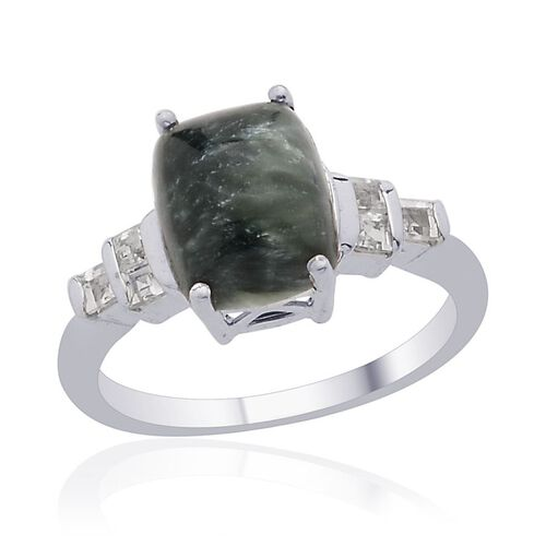 Siberian Seraphinite (Cush 2.64 Ct), White Topaz Ring in Platinum Overlay Sterling Silver 3.040 Ct.
