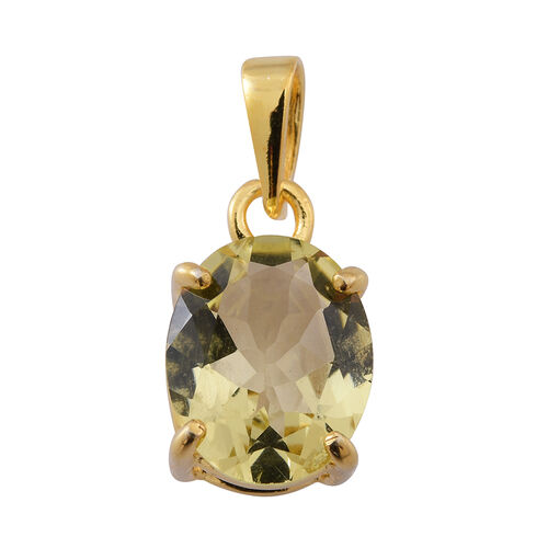 Lemon Quartz (Ovl) Solitaire Pendant in 14K Gold Overlay Sterling Silver 3.000 Ct.