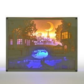 Fairy Tale Lighting with Paper Cut 3D Shadow Box Venice Bridges (Size 26x20 cm)