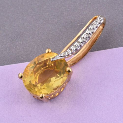 Rare Yellow Fluorite (Ovl) Solitaire Pendant in 14K Gold Overlay Sterling Silver 4.500 Ct.