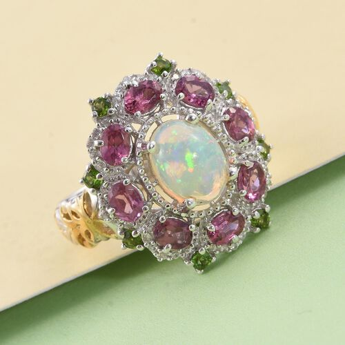 GP Ethopian Welo Opal (Ovl 1.30 Ct), Rhodolite Garnet, Russian Diaopside, Natural Cambodian Zircon and Kanchanaburi Blue Sapphire Ring in Platinum and Yellow Gold Overlay Sterling Silver 3.500 Ct.