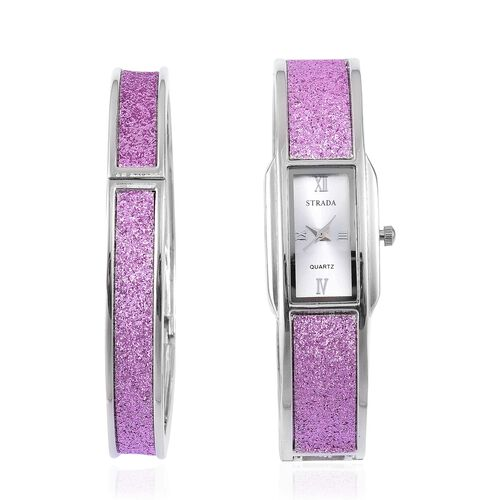 STRADA Japanese Movement Purple Stardust Watch and Bangle (Size 7.5) Set