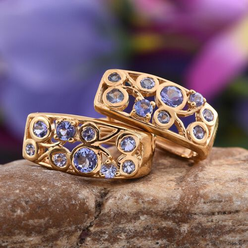 Tanzanite (Rnd) Earrings (with Clasp) in 14K Gold Overlay Sterling Silver 1.750 Ct.