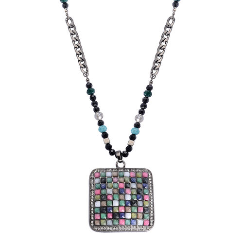 White Austrian Crystal, Multi Colour Glass and Simulated Stone Necklace (Size 32) in Silver Tone