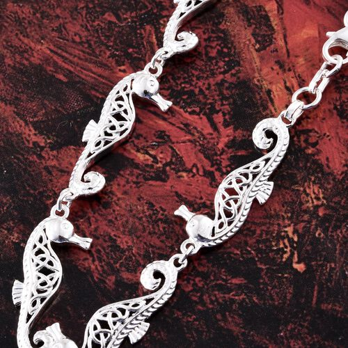 Vicenza Collection - Designer Inspired Sterling Silver Sea Horse Bracelet (Size 7.5), Silver wt 6.28 Gms.