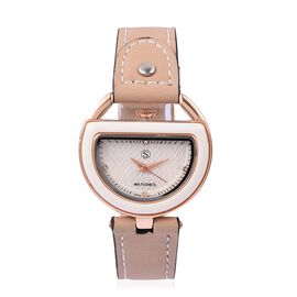 STRADA Japanese Movement White Austrian Crystal White Dial Water Resistant Watch in Rose Tone with Beige Colour Strap