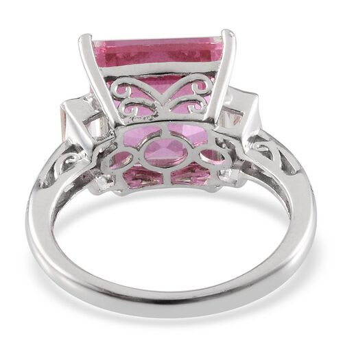 Kunzite Colour Quartz (Sqr 8.25 Ct), White Topaz Ring in Platinum Overlay Sterling Silver 9.250 Ct.